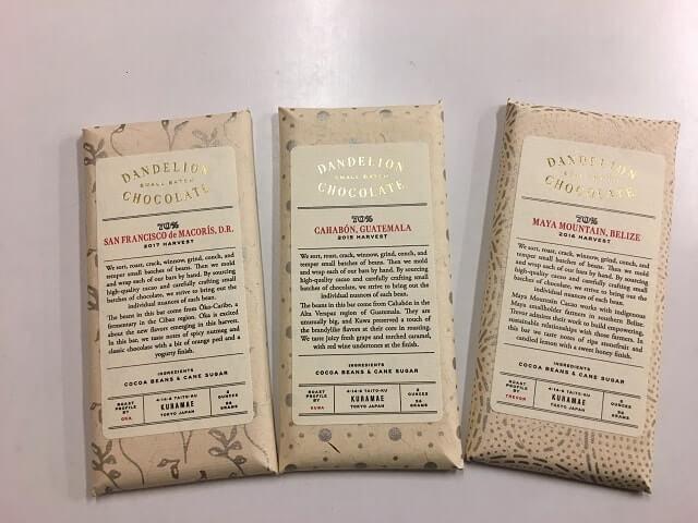 ダンデライオンチョコレートバー3種