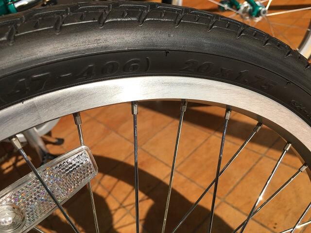自転車タイヤサイズ見方 20×1.75
