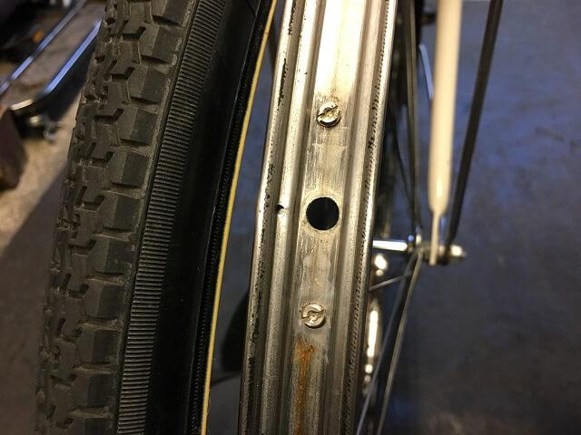 ママチャリ自転車リムテープが無い状態