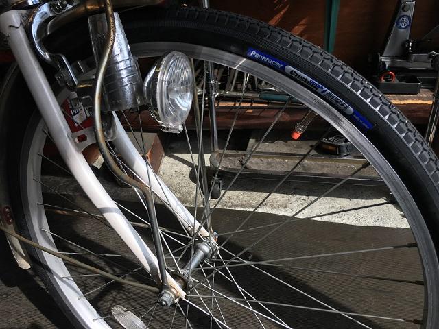 自転車フロントタイヤ交換 パナレーサーカスタムタフ