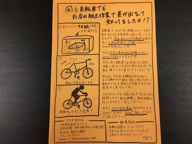 コスナサイクルのニュースレター2018/6月号裏面