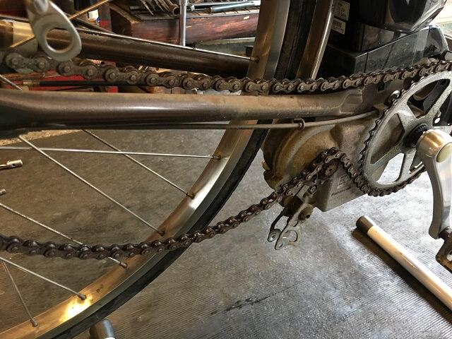 パナソニック電動アシスト自転車テンションプーリー外した状態