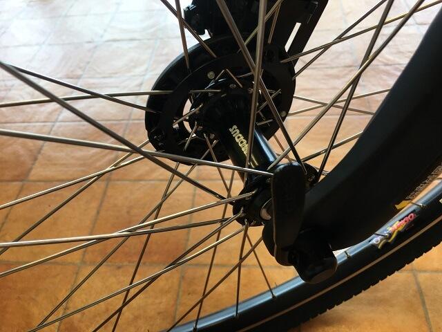 パナソニック電動アシスト自転車「ハリヤ」フロントクイックレリーズ