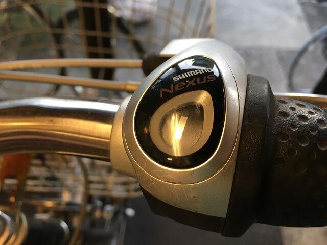 ベルト自転車3段の変速数字を1にする