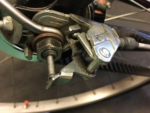 ベルト自転車内装3段ケーブル取り付け完了