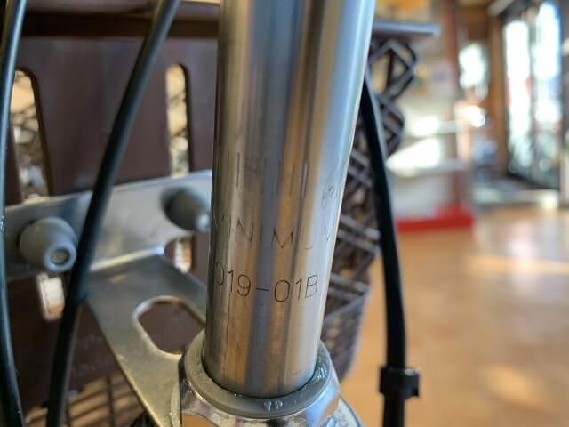 一般自転車ハンドル高さ調整のステム限界線