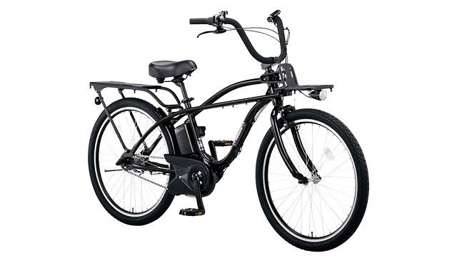 ビーチクルーザー電動アシスト自転車 パナソニックBP02ブラック斜め前方から