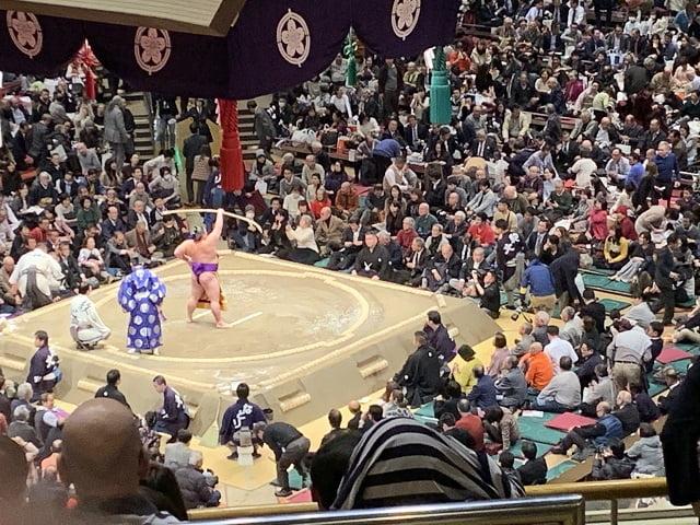 両国国技館内 大相撲 弓取式