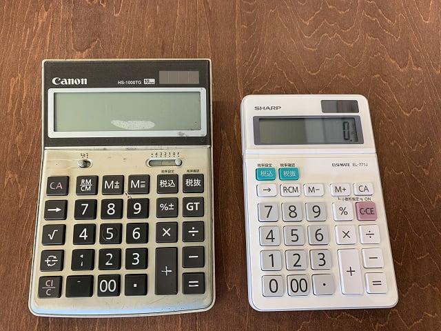 キャノン電卓とシャープ電卓 キー配列が同じ