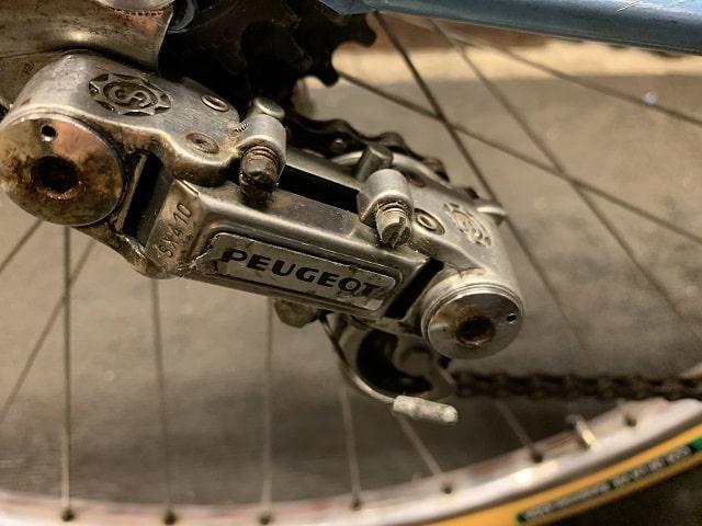 ヴィンテージプジョー自転車リアディライラーきれいになる