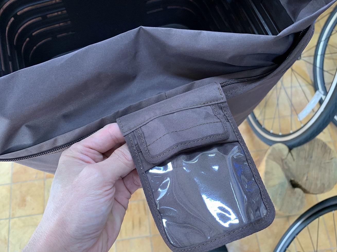 ビビDX用フロントバスケットカバ内側にミニポケット付き