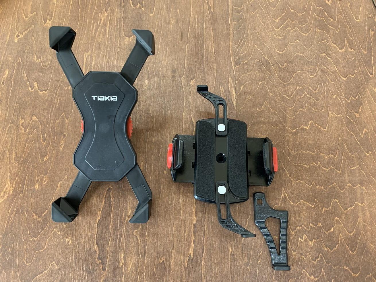 自転車スマホホルダー「Tiakia PB03-AC」と「ミノウラiH-520-STD」本体サイズ比較
