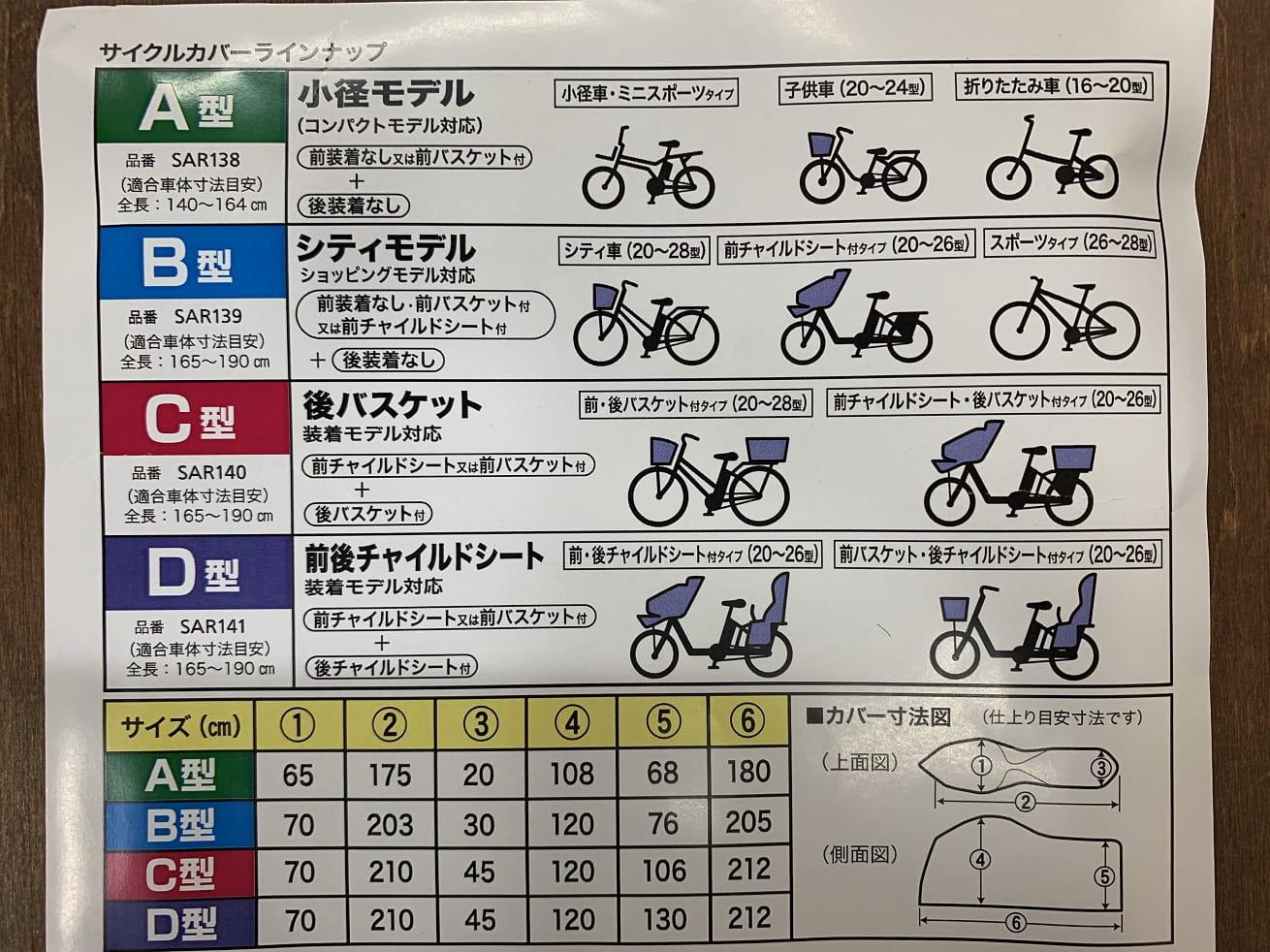 パナソニック純正サイクルカバーのサイズ表