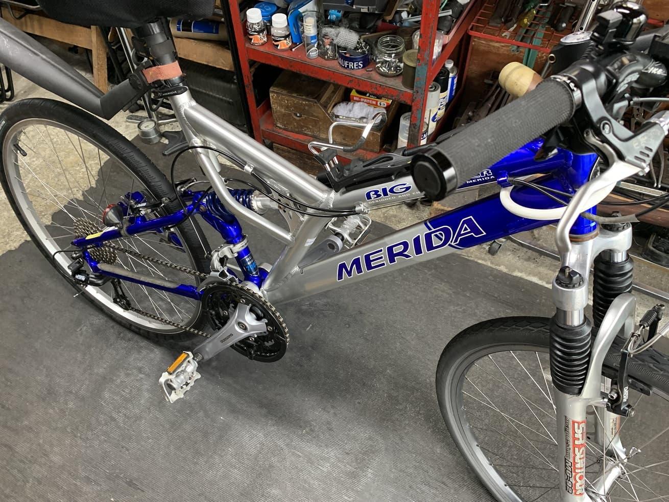 シュアラスターを使用した後の自転車洗車完了